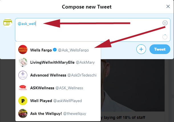 Begin Type ask_wells Fargo and Select Wells Fargo Twitter Support Account